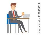 businessman working at the desk ... | Shutterstock .eps vector #1150383011