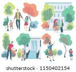 parent taking children to... | Shutterstock .eps vector #1150402154