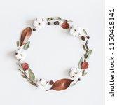 autumn composition. wreath made ... | Shutterstock . vector #1150418141