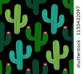 cute hand drawn cactus seamless ... | Shutterstock .eps vector #1150432097