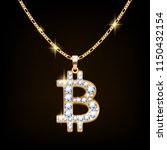 bitcoin sign jewelry necklace... | Shutterstock .eps vector #1150432154