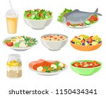 delicious and fresh dishes set  ... | Shutterstock .eps vector #1150434341