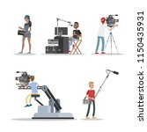 film studio staff set. people... | Shutterstock .eps vector #1150435931
