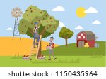 young happy female farmer... | Shutterstock .eps vector #1150435964