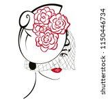 graphic woman head wearing a... | Shutterstock .eps vector #1150446734