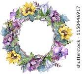 watercolor bouquet flowers.... | Shutterstock . vector #1150446917