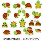 Stock vector turtle vector cartoon seaturtle character swimming in sea and sleeping tortoise in tortoise shell 1150447997