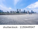 empty square with city skyline... | Shutterstock . vector #1150449047