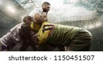 rugby players fight for the...   Shutterstock . vector #1150451507