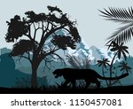 jungle trees  grass  plants and ... | Shutterstock .eps vector #1150457081