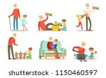 grandpa spending time with... | Shutterstock .eps vector #1150460597