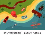 top view of the bech with... | Shutterstock .eps vector #1150473581