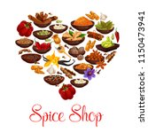 heart formed of spice and... | Shutterstock .eps vector #1150473941