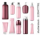cosmetic bottles and liquid...   Shutterstock .eps vector #1150477781