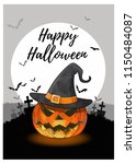 jack o lantern with witch hat... | Shutterstock .eps vector #1150484087