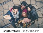 group of multi ethnic friends... | Shutterstock . vector #1150486544
