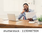 satisfying call. happy young... | Shutterstock . vector #1150487504