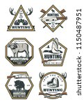 hunting sport retro badges with ...   Shutterstock .eps vector #1150487951