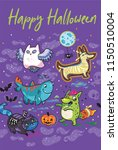 halloween greeting card with... | Shutterstock .eps vector #1150510004
