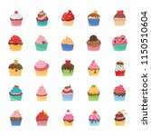 cupcakes icons pack  | Shutterstock .eps vector #1150510604