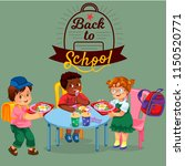 school lunch colorful poster | Shutterstock .eps vector #1150520771