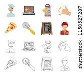 a pizza cutter  a slice  a menu ... | Shutterstock . vector #1150527287