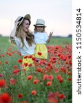 cute little girl with her... | Shutterstock . vector #1150534814