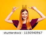 portrait of red straight haired ... | Shutterstock . vector #1150540967