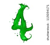 Green Liquid Alphabet Number 4