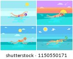 freestyle and breaststroke...   Shutterstock .eps vector #1150550171