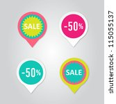 stickers with sale messages | Shutterstock .eps vector #115055137