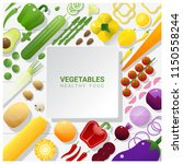 flat lay fresh vegetables on... | Shutterstock .eps vector #1150558244