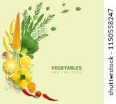 flat lay fresh vegetables on...   Shutterstock .eps vector #1150558247