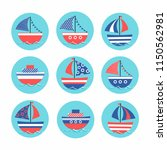 cartoon stickers with colored... | Shutterstock .eps vector #1150562981