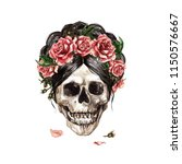 human skull decorated with... | Shutterstock . vector #1150576667