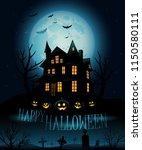 vector haunted house background   Shutterstock .eps vector #1150580111
