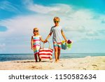 happy kids  boy and girl with... | Shutterstock . vector #1150582634