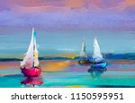colorful oil painting on canvas ... | Shutterstock . vector #1150595951