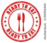 ready to eat red rubber stamp... | Shutterstock .eps vector #1150596344