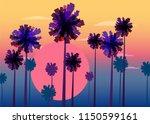 tropical sunrise at seashore ... | Shutterstock .eps vector #1150599161