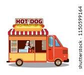 street food truck  van. fast...   Shutterstock .eps vector #1150599164