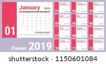 2019 calendar. english calender.... | Shutterstock .eps vector #1150601084