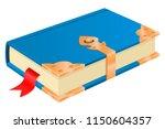 blue book with golden corners... | Shutterstock .eps vector #1150604357