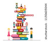 people on books pile isolated... | Shutterstock .eps vector #1150605044