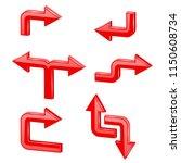 red 3d arrows. different... | Shutterstock . vector #1150608734