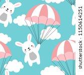 seamless rabbit pattern... | Shutterstock .eps vector #1150614251