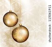 two golden baubles on bright... | Shutterstock .eps vector #115061911