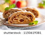 traditional pieces of apple... | Shutterstock . vector #1150619381