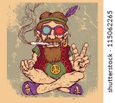 old hippie smokes marijuana and ... | Shutterstock .eps vector #115062265