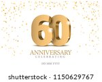 Anniversary 60. Gold 3d Number...